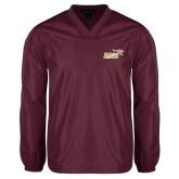 V Neck Maroon Raglan Windshirt-Primary Mark 2 Color
