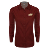 Ladies Maroon Twill Button Down Long Sleeve-Primary Mark 2 Color