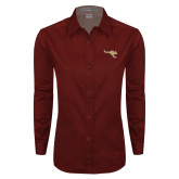 Ladies Maroon Twill Button Down Long Sleeve-Roo Icon
