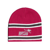 Pink/Charcoal/White Striped Knit Beanie-Primary Mark 1 Color
