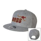Heather Grey Wool Blend Flat Bill Snapback Hat-Primary Mark 2 Color