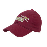 Maroon Twill Unstructured Low Profile Hat-Primary Mark 2 Color