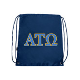 Navy Drawstring Backpack-ATO 2 Color Greek Letters