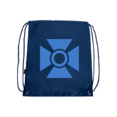 Navy Drawstring Backpack-Cross