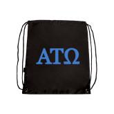 Black Drawstring Backpack-ATO Greek Letters