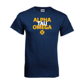 Navy T Shirt-Alpha Tau Omega Stacked