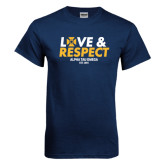 Navy T Shirt-Love and Respect Stacked