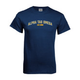 Navy T Shirt-Arched Alpha Tau Omega