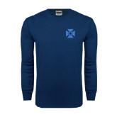 Navy Long Sleeve T Shirt-Cross