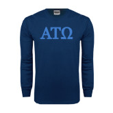 Navy Long Sleeve T Shirt-ATO Greek Letters
