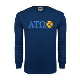 Navy Long Sleeve T Shirt-Greek Letters with Cross