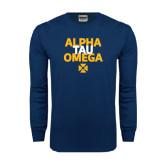 Navy Long Sleeve T Shirt-Alpha Tau Omega Stacked