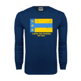 Navy Long Sleeve T Shirt-Distressed Flag