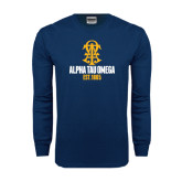 Navy Long Sleeve T Shirt-Est Year Stacked w/ Crest
