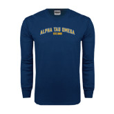 Navy Long Sleeve T Shirt-Arched Alpha Tau Omega