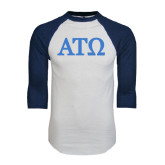 White/Navy Raglan Baseball T-Shirt-ATO Greek Letters