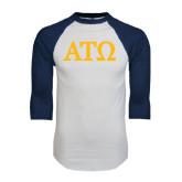 White/Navy Raglan Baseball T-Shirt-ATO Greek Letters