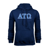 Navy Fleece Hoodie-ATO 2 Color Greek Letters