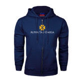 Navy Fleece Full Zip Hoodie-Official Logo