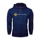 Navy Fleece Full Zip Hoodie-Official Logo Flat Version