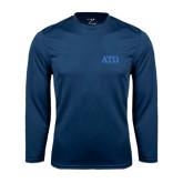 Performance Navy Longsleeve Shirt-ATO Greek Letters