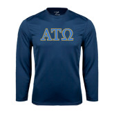 Performance Navy Longsleeve Shirt-ATO 2 Color Greek Letters