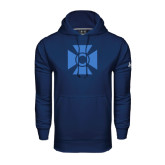 Under Armour Navy Performance Sweats Team Hoodie-Cross