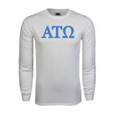 White Long Sleeve T Shirt-ATO Greek Letters