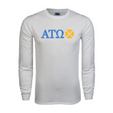 White Long Sleeve T Shirt-Greek Letters with Cross