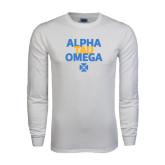 White Long Sleeve T Shirt-Alpha Tau Omega Stacked