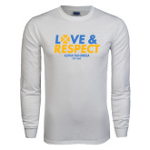 White Long Sleeve T Shirt-Love and Respect Stacked