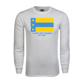 White Long Sleeve T Shirt-Distressed Flag