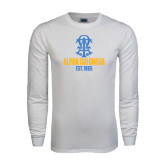 White Long Sleeve T Shirt-Est Year Stacked w/ Crest