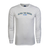 White Long Sleeve T Shirt-Arched Alpha Tau Omega