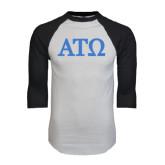 White/Black Raglan Baseball T-Shirt-ATO Greek Letters