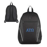 Atlas Black Computer Backpack-ATO Greek Letters