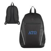 Atlas Black Computer Backpack-ATO Greek Letters