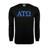 Black Long Sleeve TShirt-ATO Greek Letters