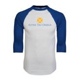 White/Royal Raglan Baseball T Shirt-Official Logo
