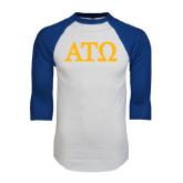 White/Royal Raglan Baseball T Shirt-ATO Greek Letters