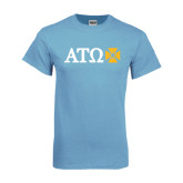 Light Blue T Shirt-Greek Letters with Cross