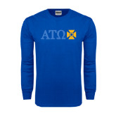 Royal Long Sleeve T Shirt-Greek Letters with Cross