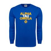Royal Long Sleeve T Shirt-Alpha Tau Omega Stacked
