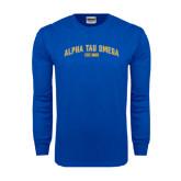 Royal Long Sleeve T Shirt-Arched Alpha Tau Omega