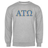 Grey Fleece Crew-ATO 2 Color Greek Letters
