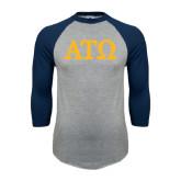 Grey/Navy Raglan Baseball T Shirt-ATO Greek Letters