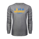 Grey Long Sleeve T Shirt-Love and Respect Stacked