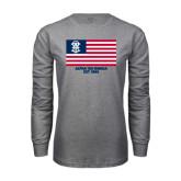 Grey Long Sleeve T Shirt-American Flag