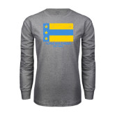 Grey Long Sleeve T Shirt-Distressed Flag