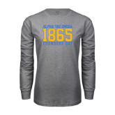 Grey Long Sleeve T Shirt-Jersey Font Established Day